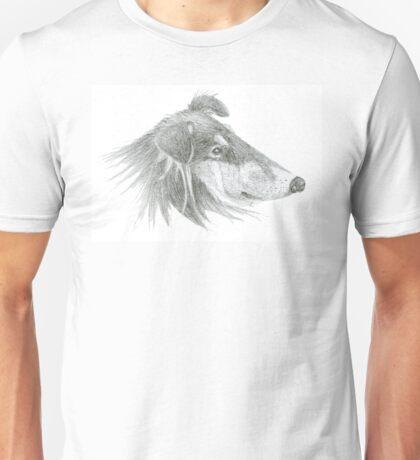 Rough Collie Lassie Profile Sketch Unisex T-Shirt