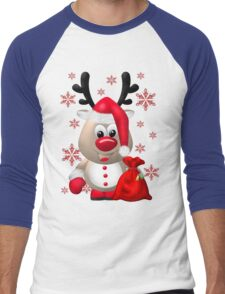 Red Nose Reindeer  Men's Baseball ¾ T-Shirt