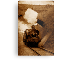 Steam train going under bridge, Shepton Mallet, Somerset, UK Metal Print