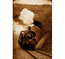 Steam train going under bridge, Shepton Mallet, Somerset, UK Photographic Print