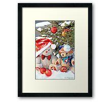 Fatso Teddy bear and Erasmus Bear under the outdoor Christmas Tree Framed Print
