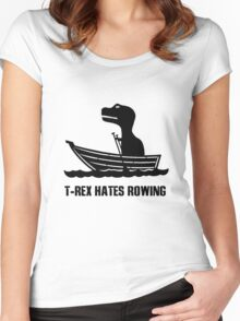 T rex hates rowing geek funny nerd Women's Fitted Scoop T-Shirt