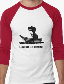 T rex hates rowing geek funny nerd Men's Baseball ¾ T-Shirt
