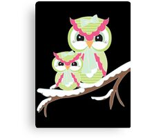 Two Owls for Christmas  Canvas Print