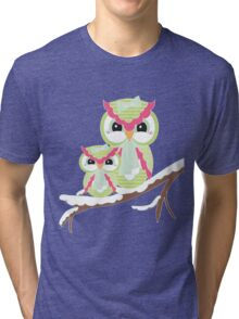 Two Owls for Christmas  Tri-blend T-Shirt