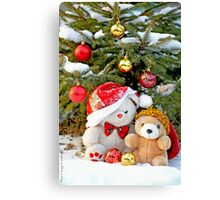 Fatso Bear and Little Red Panda under the outdoor Christmas Tree Canvas Print