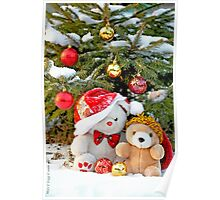 Fatso Bear and Little Red Panda under the outdoor Christmas Tree Poster