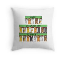 Cats celebrating birthdays on December 18th Throw Pillow