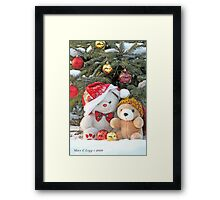 Fatso Bear and Little Red Panda under the outdoor Christmas Tree Framed Print