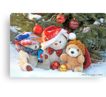 Three teddy bear friends  under the outdoor Christmas Tree Canvas Print