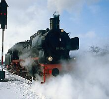 Steam Locomotive approaching, Germany, 1985. by David A. L. Davies