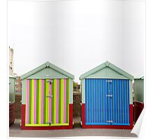 Stripy Beach Huts Poster