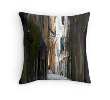 Red's light street in Genova Throw Pillow