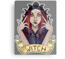 Witch with Crescent Moons Metal Print