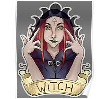 Witch with Crescent Moons Poster