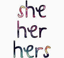 She/Her/Hers Pronouns w/ Galaxy Print Unisex T-Shirt