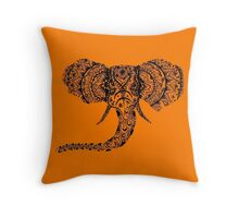 Orange Elephant Mandala Throw Pillow