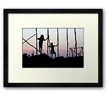 Children playing in Cambodia Framed Print