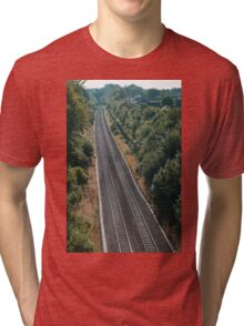 Long Ashton Bristol Railway lines leading into the distance. Tri-blend T-Shirt