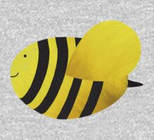 Cute Bumble Bee Fabric Collage One Piece - Long Sleeve