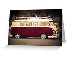 Camper van surfs up old skool  Greeting Card