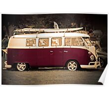 Camper van surfs up old skool  Poster