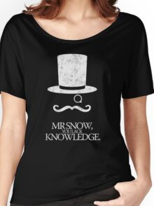 Mr Snow, You Lack Knowledge - White on Black Women's Relaxed Fit T-Shirt