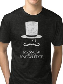 Mr Snow, You Lack Knowledge - White on Black Tri-blend T-Shirt