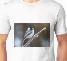 Chickadee on ice covered branch - Ottawa, Ontario Unisex T-Shirt