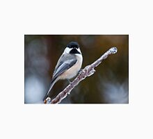Chickadee on ice covered branch - Ottawa, Ontario Unisex T-Shirt