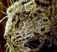 The Hunt-Snow Leopard Eyes Prey by Herbert Renard