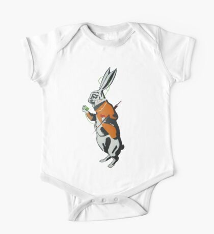 Wonderland Hare - Late for the tea party. One Piece - Short Sleeve
