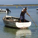 Local Fisherman Pushing Boat with Pole in Mauritius by Keith Richardson