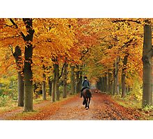 Riding on the autumn lane again Photographic Print