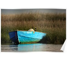 Cape Cod Eastham, Boat Meadow - Blue Boat Poster