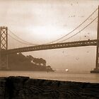 OakLand Bay Bridge In Sepia by RobynLee