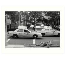 NYC Taxi Blur Art Print