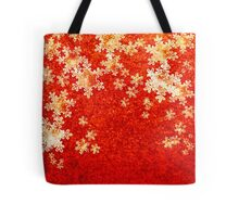 Xmas Gold and red Snowflakes Tote Bag