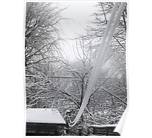 Snow Covered Clothesline Poster