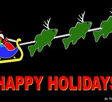 "Santa & his ""BassDeer"" - Blank Greeting Card by Marcia Rubin"