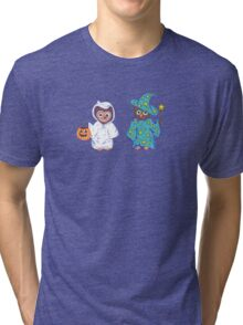Trick or Treating Halloween Cartoon Owls Tri-blend T-Shirt