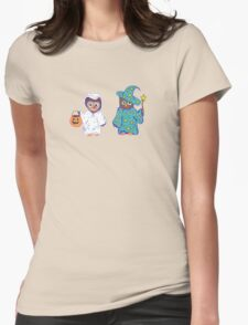 Trick or Treating Halloween Cartoon Owls Womens Fitted T-Shirt