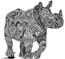 Rhinolicious Zentangle Doodle by DILLIGAF