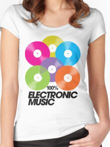 100% Electronic Music Women's Fitted Scoop T-Shirt