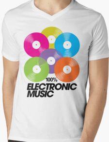 100% Electronic Music Mens V-Neck T-Shirt