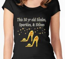 GOLD SIZZLING 50TH BIRTHDAY DESIGN Women's Fitted Scoop T-Shirt