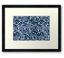 Cube Camo - Blue Framed Print