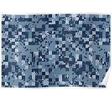 Cube Camo - Blue Poster
