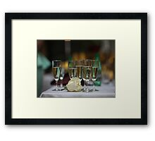 White Rose and glasses of wine Framed Print
