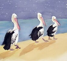 """Three Wise Pelicans"" by sooziii"